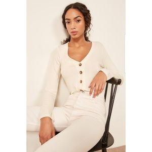 NWOT REFORMATION Iris Ribbed Top Cardigan Sweater
